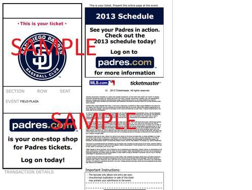 2 Padres v/s Braves E-Tickets