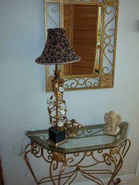 2 Piece Wrought Iron Hall Console Table And Matching Mirror
