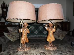 2 Rare Vintage ANTIQUES 1950's WOOD LAMPS
