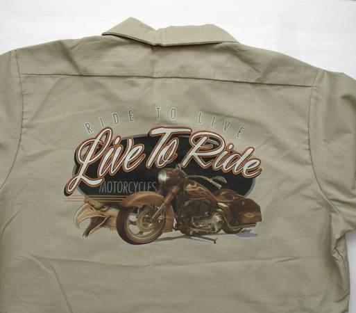 2 Red Kap Work Shirts With Biker Graphic On Back New For