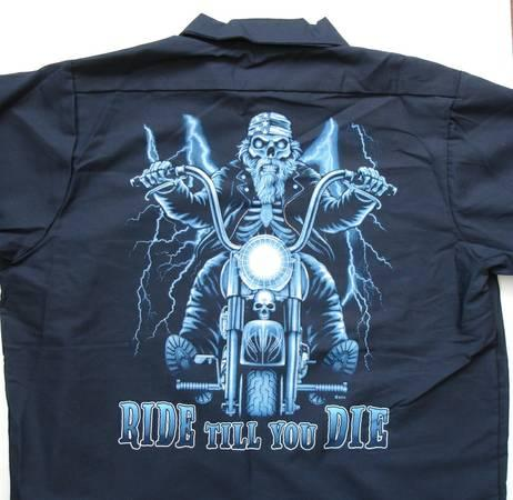 2 red kap work shirts with biker graphic on back size for Shirts with graphics on the back