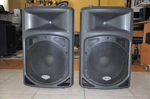 2 samson db500a powered active pa dj speakers 1000w 1yr war mint for sale in venice. Black Bedroom Furniture Sets. Home Design Ideas