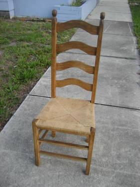 2 Solid Wood Ladderback Chairs W/ Tall Backs And Rush