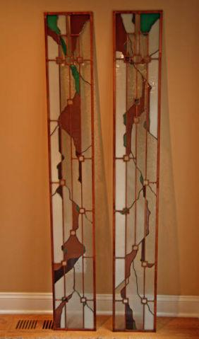 2 Stained Glass Entry Door Side Panels, Copper Accents  Copper Frame