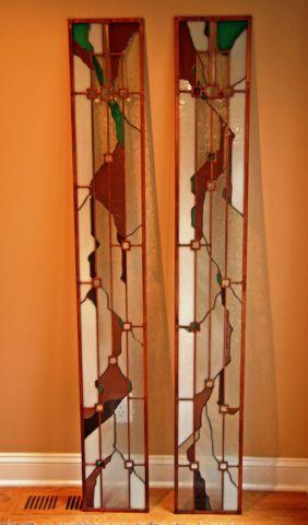 2 Stained Glass Entry Door Side Panels with Copper Accents