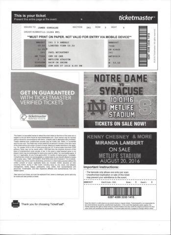 2 Tickets Paul McCartney One on One Tour MetLife