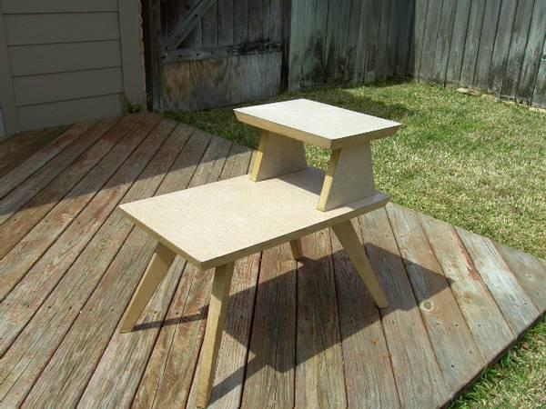 2 Tier End Table Vintage Wood Formica Mid Century Eames