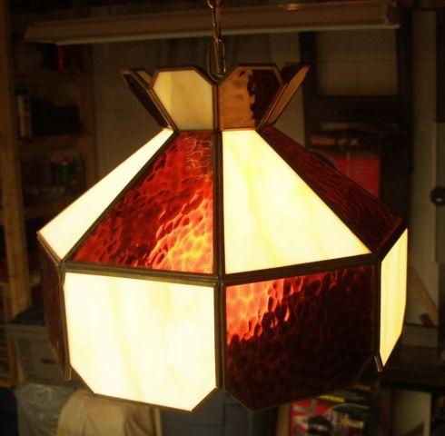 2 Tiffany Style Stained Glass Hanging Lamps For Sale In