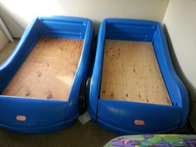 2 Toddler Blue Little Tykes Race Car Beds Soooo Cute For