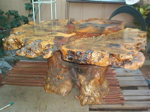 Peachy 2 Vintage Burl Wood Tables Beautiful Work Redwood With Acrylic Tops Beutiful Home Inspiration Cosmmahrainfo