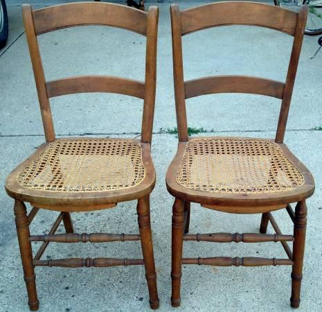 2 Vintage Mid Century Wicker Wood Dining Room Occasional Chairs For Sale