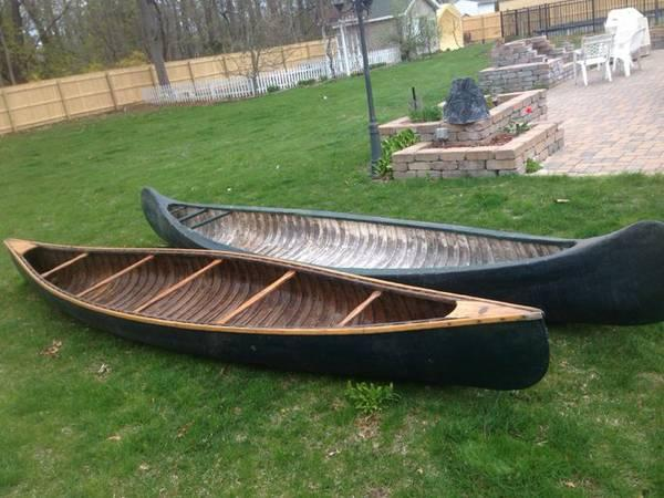 2 VINTAGE WOOD CANOES WHITE CANOE COMPANY OLD TOWN MAINE USA HAND MADE -  $700