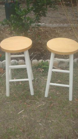 2 Wooden Bar Stools - both for