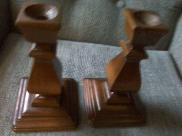 2 Wooden Candlestick Holders
