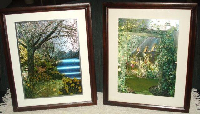 2 Wooden Picture Frames With Metallic Photos 18 X 22 For Sale In