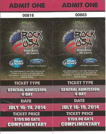 2 X ROCK USA TICKETS GENERAL ADMISSION 4 DAYS - $150