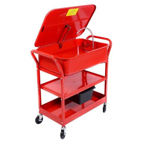 20 Gallon Mobile Parts Washer Cart Electric Solvent