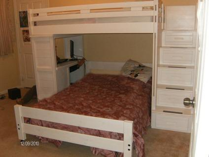 200 Creekside White Wash Twin Full Step Bunk Bed