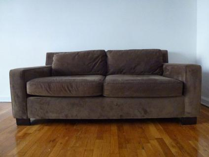 Obo west elm goodwin apartment sized sofa couch brown for West elm sectional sofa brown