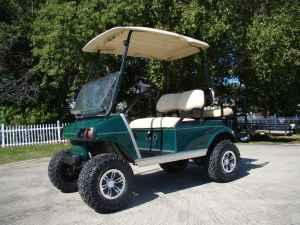 2001 club car electric lifted golf cart new batteries for Fishing carts for sale