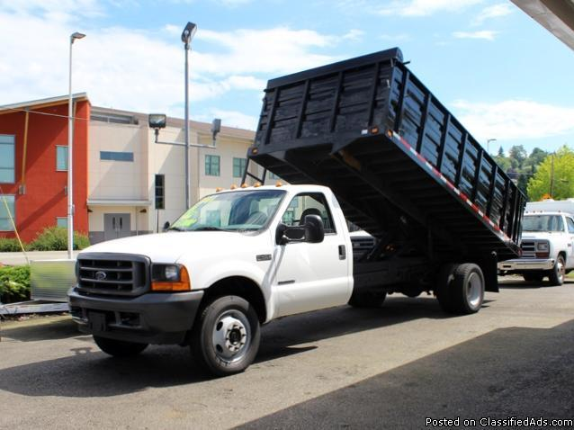 2001 ford f450 superduty 4 4 16 ft flatbed dump truck for sale in kent washington classified. Black Bedroom Furniture Sets. Home Design Ideas