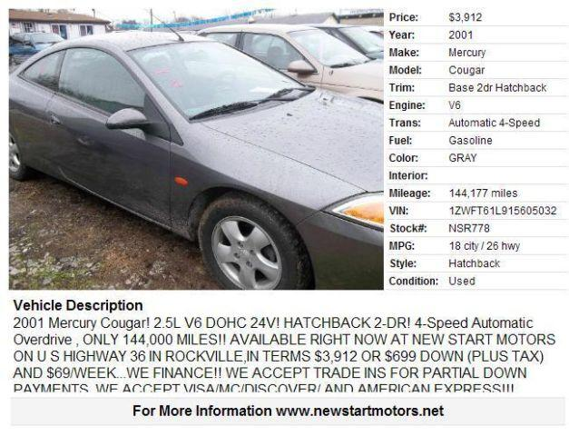 Buy Here Pay Here Merrillville In >> 2001 Mercury Cougar for Sale in Catlin, Indiana Classified | AmericanListed.com