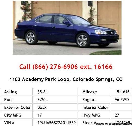 2002 Acura TL 3.2 Type-S Black Sedan V6 For Sale In