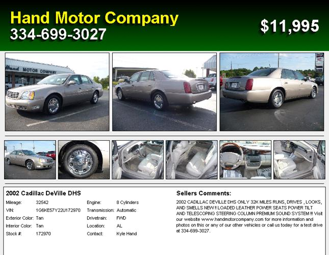 2002 Cadillac Deville Dhs Dothan Al For Sale In Dothan