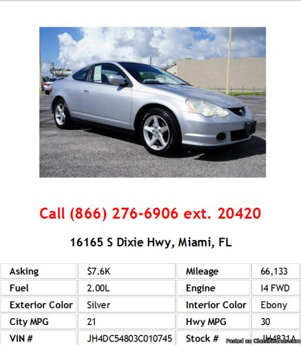 2003 Acura RSX Base Silver Hatchback I4 For Sale In Miami