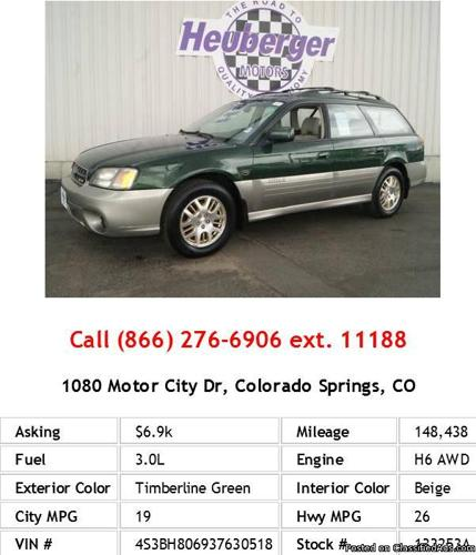 2003 Subaru Legacy Outback H6 3 0 Ll Bean Timberline Green Wagon H6