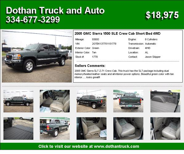 2005 gmc sierra 1500 sle crew cab short bed 4wd dothan truck and auto for sale in dothan. Black Bedroom Furniture Sets. Home Design Ideas