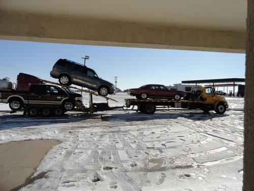 2005 international 4300 car hauler and 2 car stacker trailer