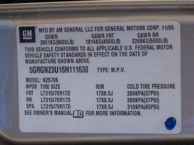 2006 HUMMER H2 Base 4dr SUV 4WD