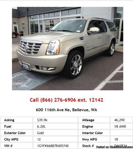 2007 Cadillac Escalade ESV Base Gold SUV V8 For Sale In