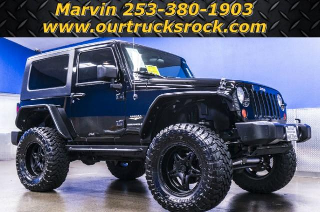 2007 jeep wrangler 2 door sahara 4x4 lifted black rims for sale in edgewood washington. Black Bedroom Furniture Sets. Home Design Ideas