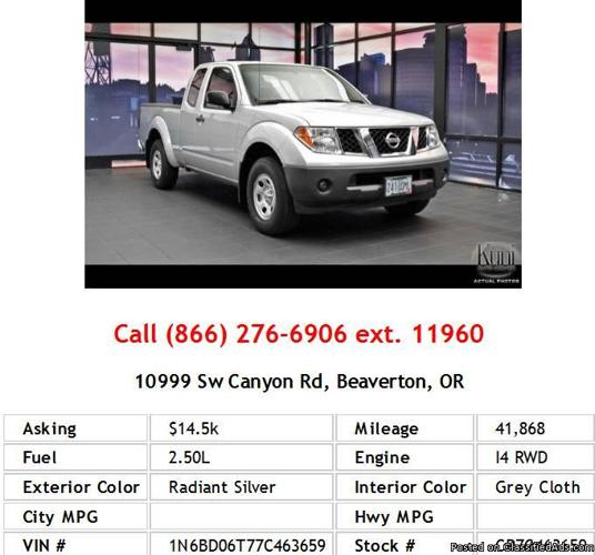 2007 Nissan Frontier XE Radiant Silver Pickup I4 For Sale