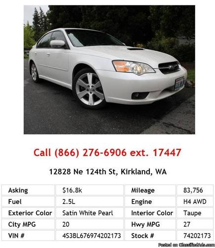 2007 Subaru Legacy Gt Limited Satin White Pearl Sedan