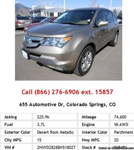 2008 Acura MDX Desert Rock Metallic SUV V6 For Sale In