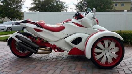 2008 Custom White And Red Can Am Spyder Ready For In Carter Lake Iowa