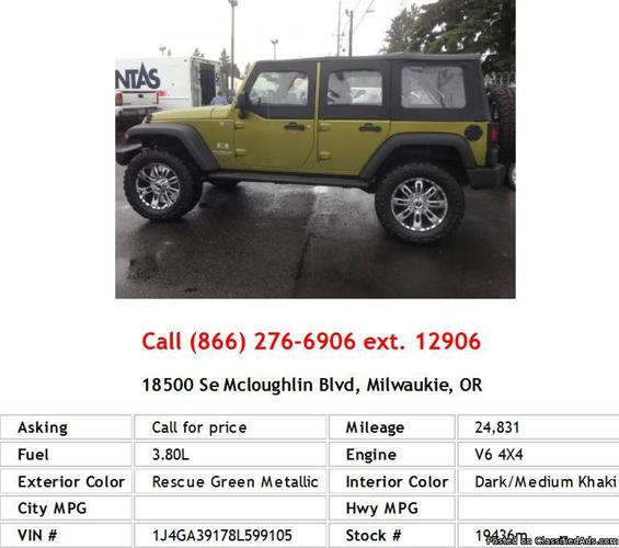 2008 Jeep Wrangler Unlimited X Rescue Green Metallic