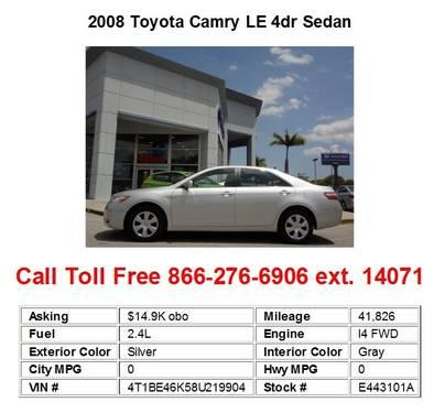 2008 toyota camry le 4dr sedan black for sale in miami. Black Bedroom Furniture Sets. Home Design Ideas
