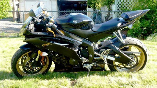 2009 yamaha yzf r6 black gold 10651 miles never for Yamaha lewiston id