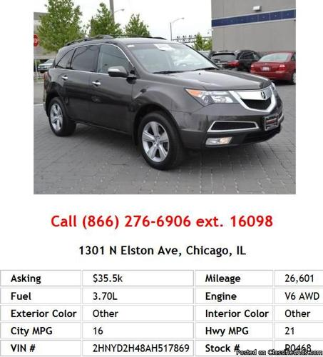 Certified Pre Owned Acura Rdx: 2010 Acura MDX Base W/Tech W/RES SUV V6 For Sale In