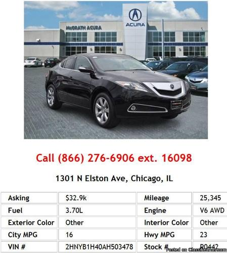 2010 Acura ZDX Base W/ Technology Package SUV V6 For Sale