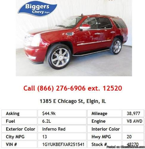 2010 Cadillac Escalade Luxury Inferno Red SUV V8 For Sale