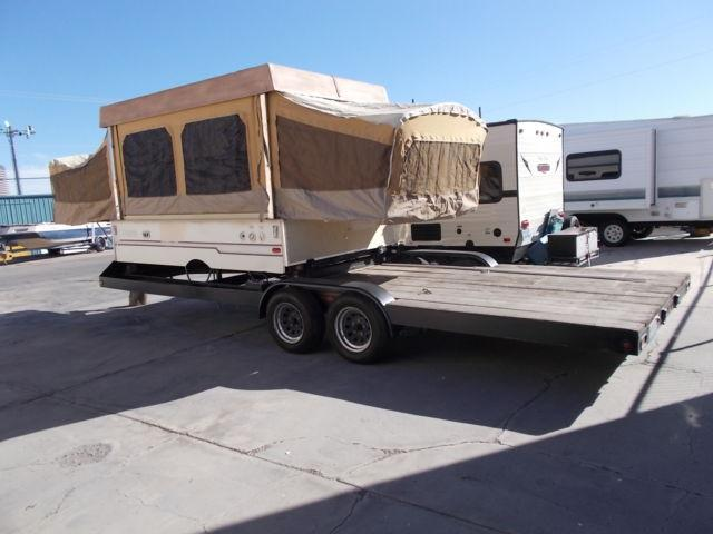 2010 Car Hauler With 1987 Coleman Pop Up Mounted To It For Sale In Las Vegas Nevada Classified
