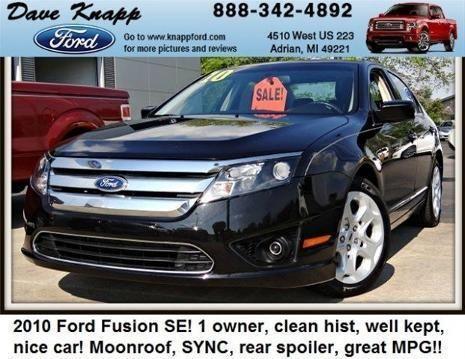 2010 ford fusion 4 door sedan for sale in adrian michigan classified. Black Bedroom Furniture Sets. Home Design Ideas