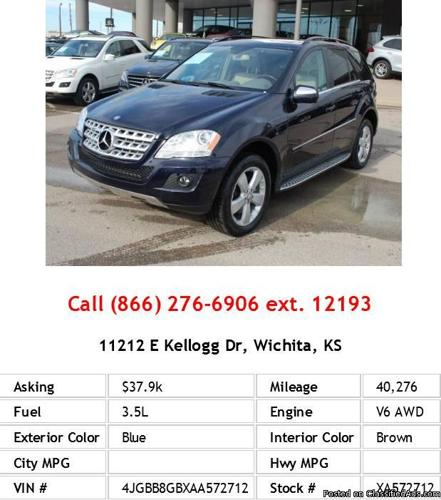 2010 mercedes benz ml 350 4matic blue suv v6 for sale in for Mercedes benz for sale wichita ks
