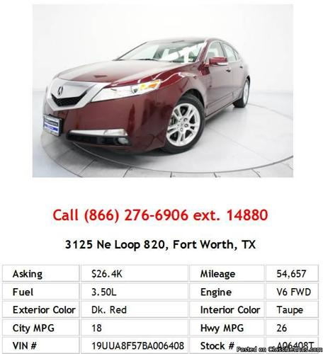 2011 Acura TL Base W/Tech Dk. Red Sedan V6 For Sale In