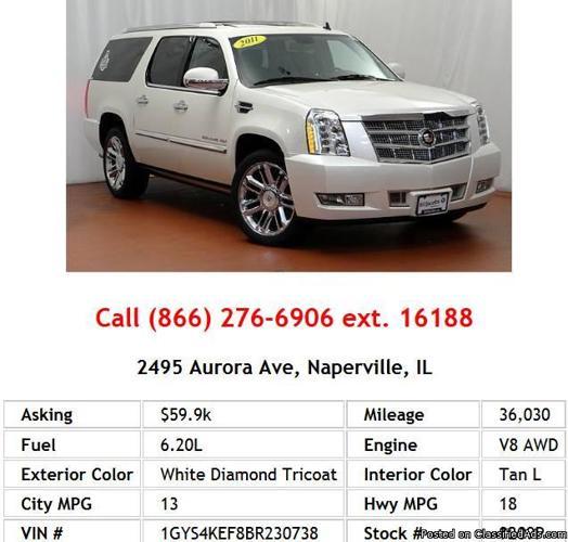 2011 Cadillac Escalade ESV Platinum Edition White Diamond